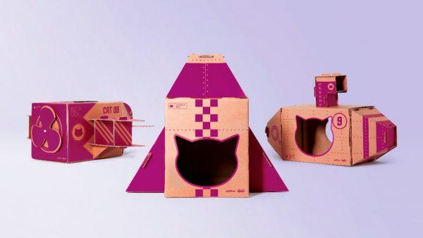 Los envases de papel se convierten en juguetes para gatos